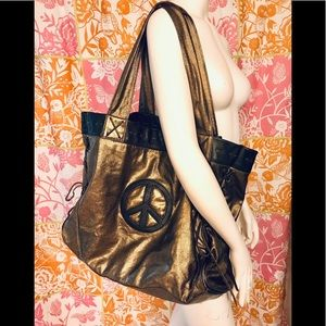 GOGO bronze tote w/Peace Sign